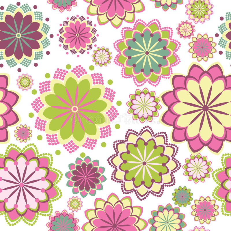 Pink floral seamless pattern royalty free illustration