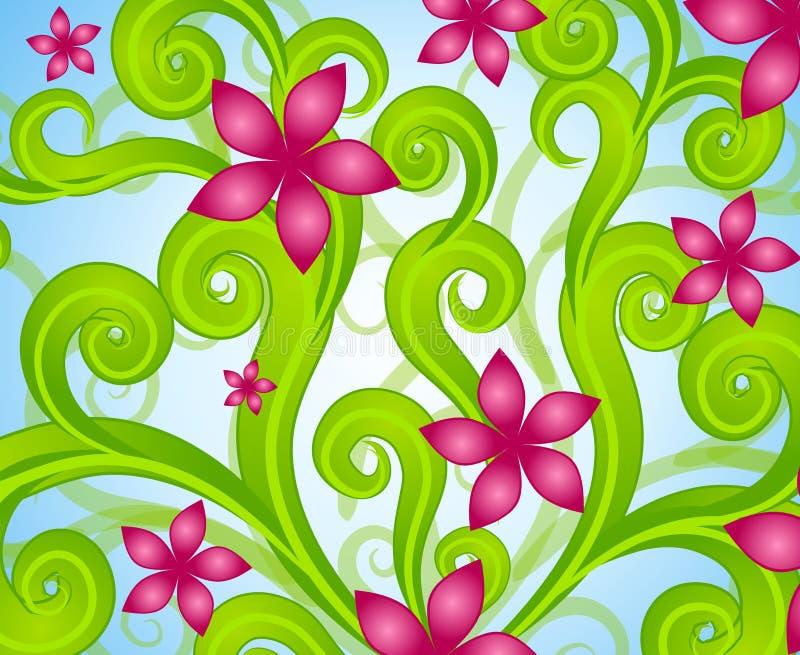 Pink Floral Swirls Garden 2 stock illustration