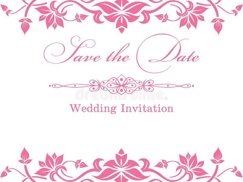 Pink floral wedding invitation template stock illustration