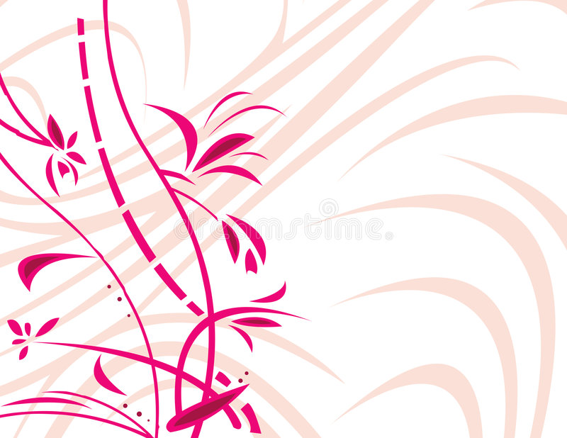 Pink floral with white backgro stock illustration