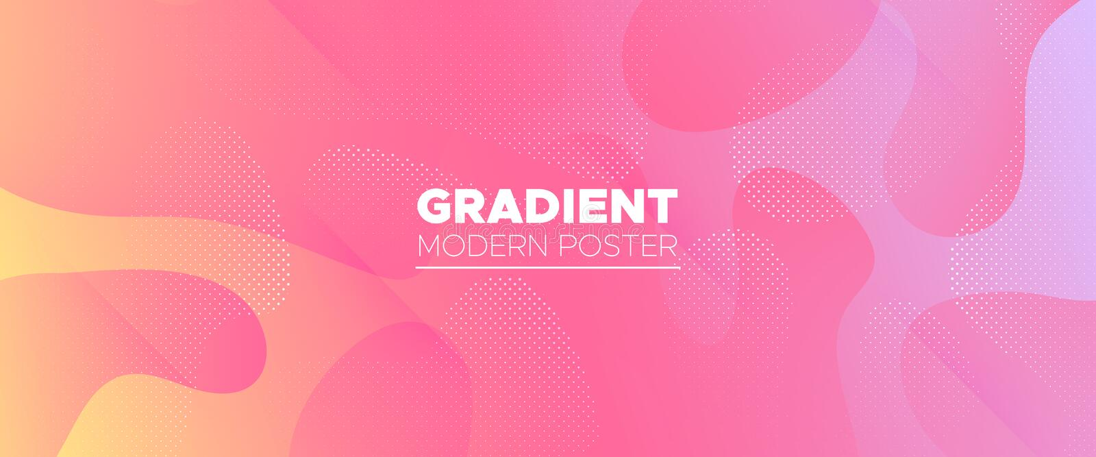 Pink Flow Background. Multicolor Abstract Shapes. Modern Geometric Poster. Vector Brochure. Fluid Illustration. Pastel Abstract Liquid. Gradient Geometric stock illustration