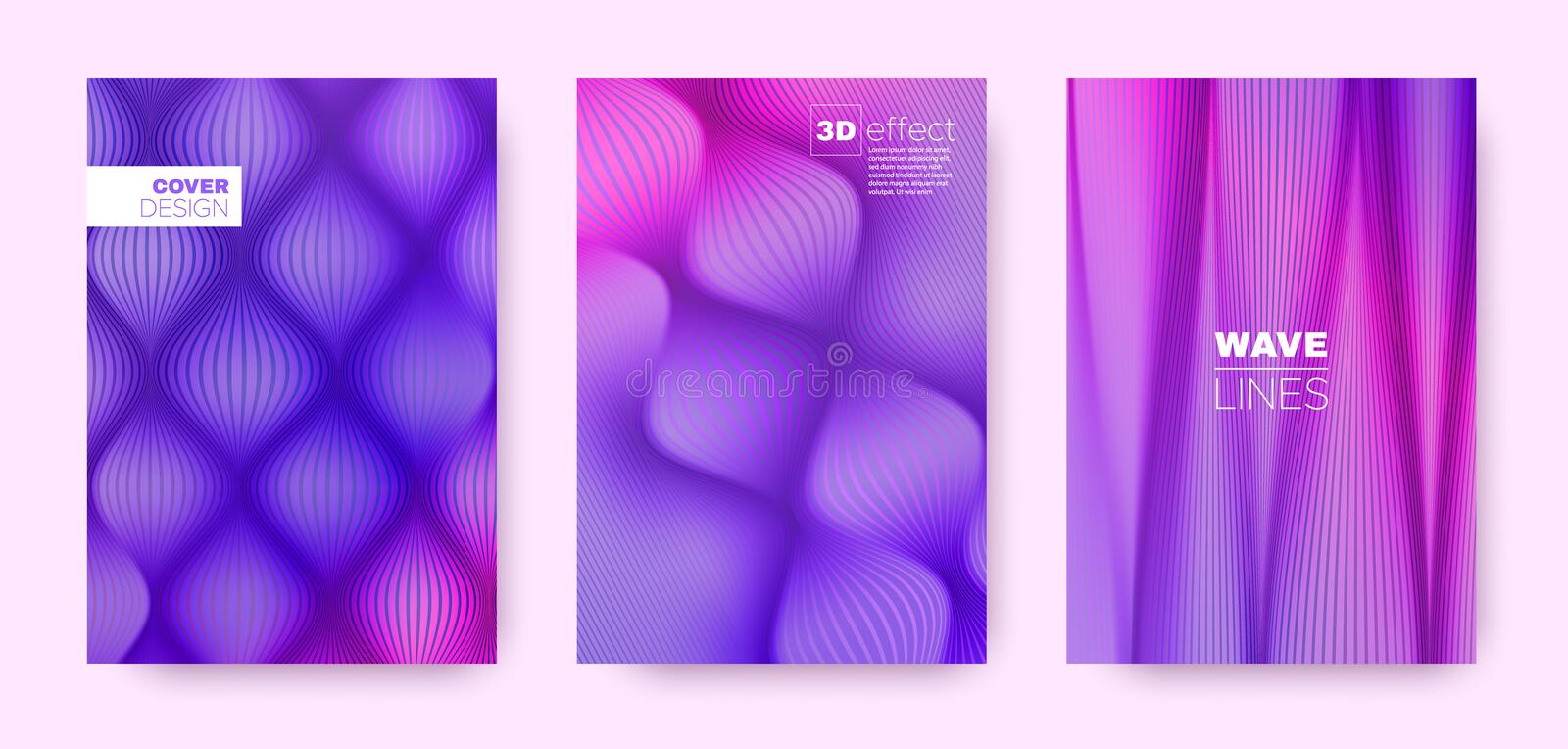Pink Flow Cover. Blue Abstract Concept. Business. Striped Pattern. 3d Movement Brochure. Neon Distorted Lines. Flow Brochure. Minimal Cover. 3d Movement Poster vector illustration