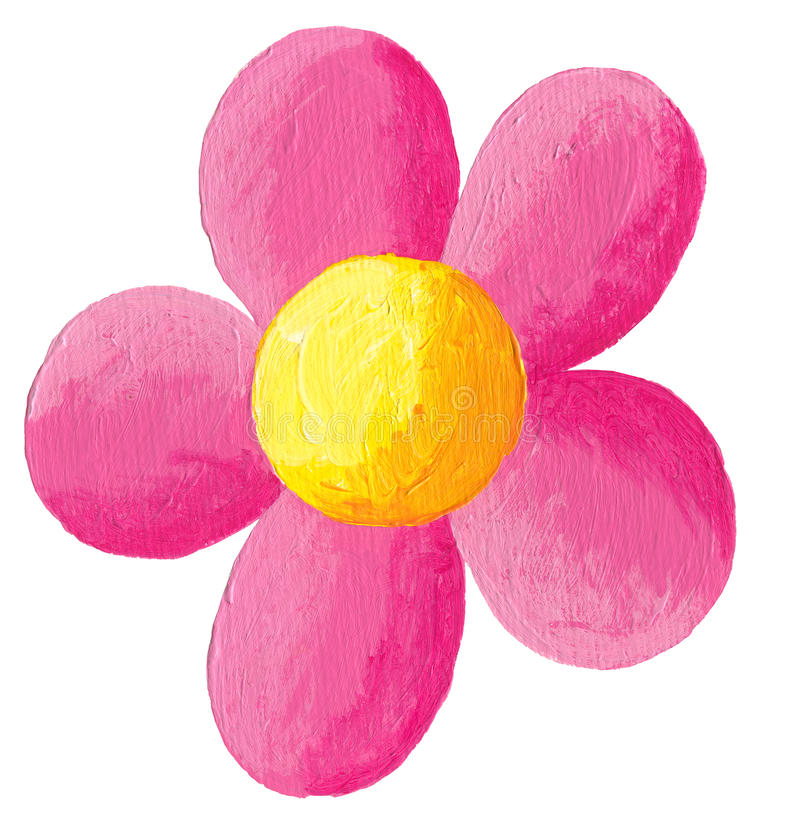 Pink flower. Acrylic illustration of pink flower isolated