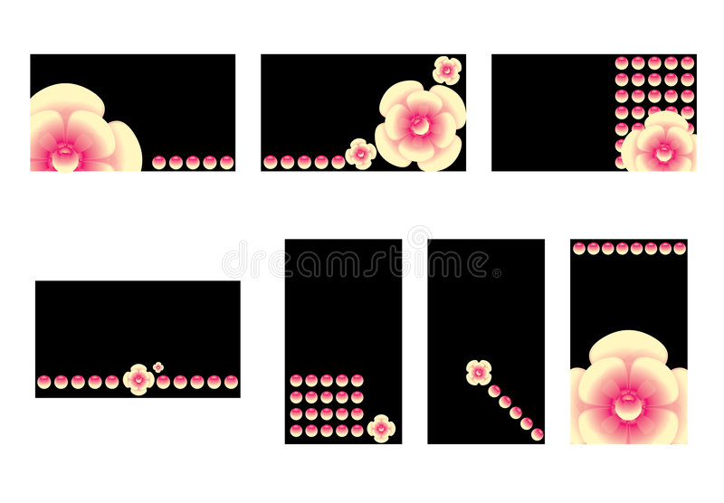 Pink flower business card set royalty free illustration