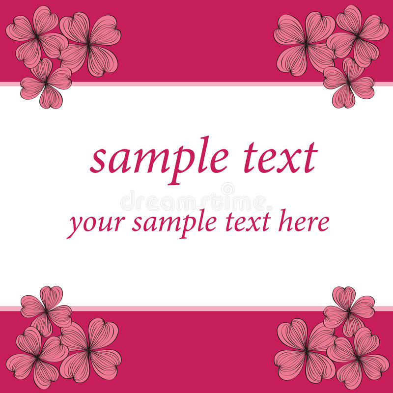 Pink Flower Card Pattern Design Stock Images