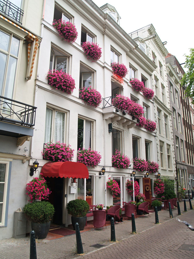 Download Pink flower facade Hotel stock image. Image of medieval - 1282345