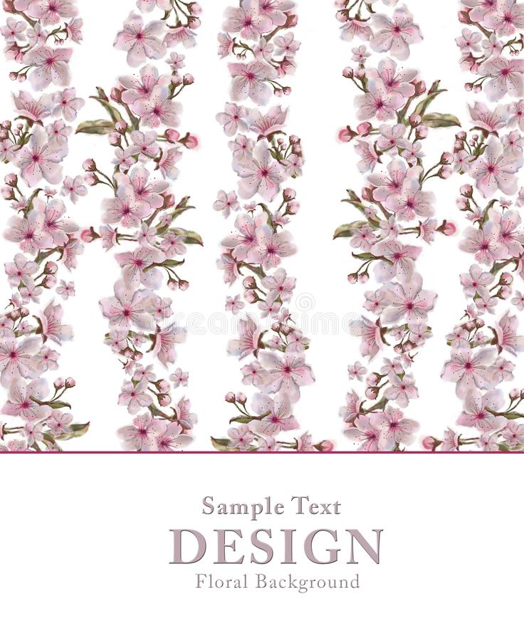 Pink Flower Garland Template with Text Copy Space on White Background. Floral Design for Print, Invitation, Greeting Card, Banner etc. Gorgeous Design for vector illustration