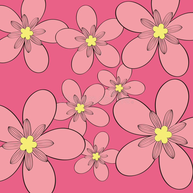 Download Pink Flower Pattern Background Stock Vector - Illustration of drawing, empty: 27052328
