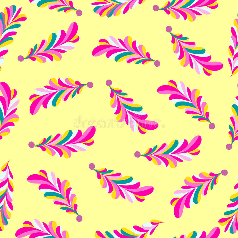 Pink flower petals abstract vector seamless pattern on a yellow background royalty free illustration