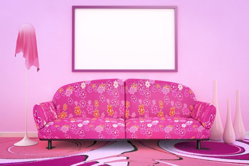 Pink flower power sofa. 3D interior rendering of a pink flower power sofa royalty free illustration