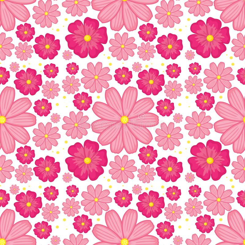 Pink flower seamless background vector illustration