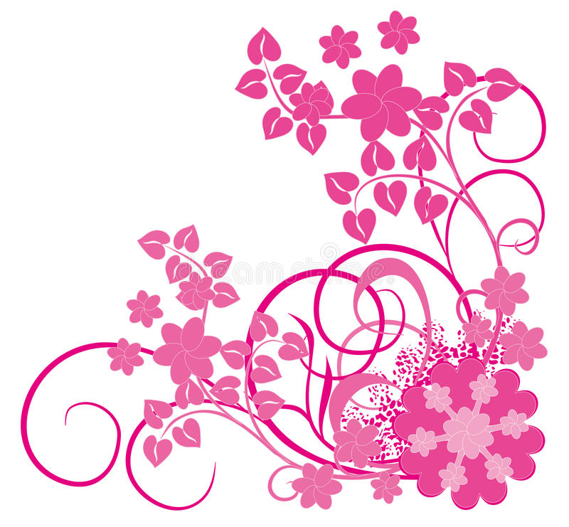 Pink flower and vines royalty free illustration