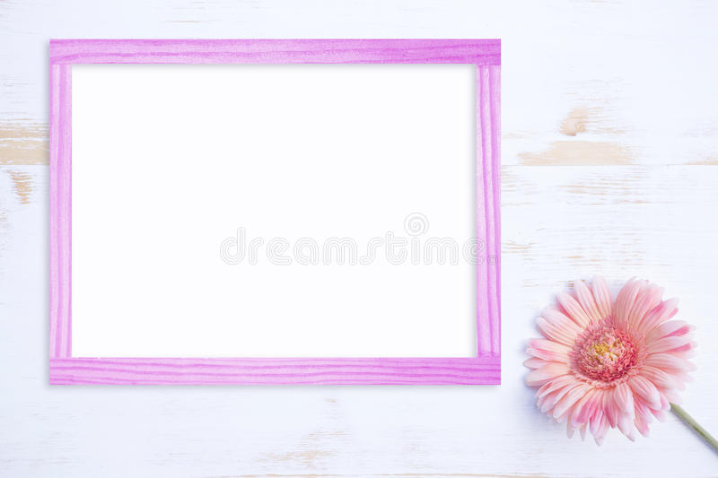 Pink Flower On White Wooden Table With Pink Frame Stock Photo ...