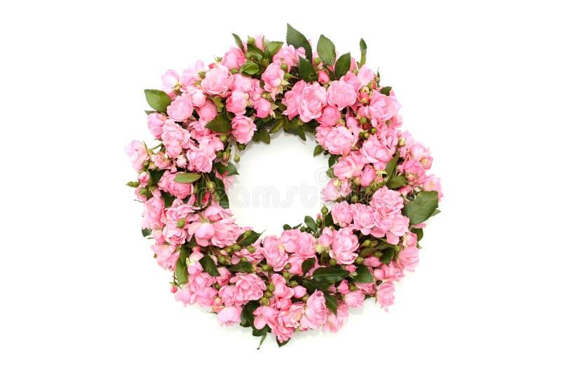 Pink flower wreath stock photo