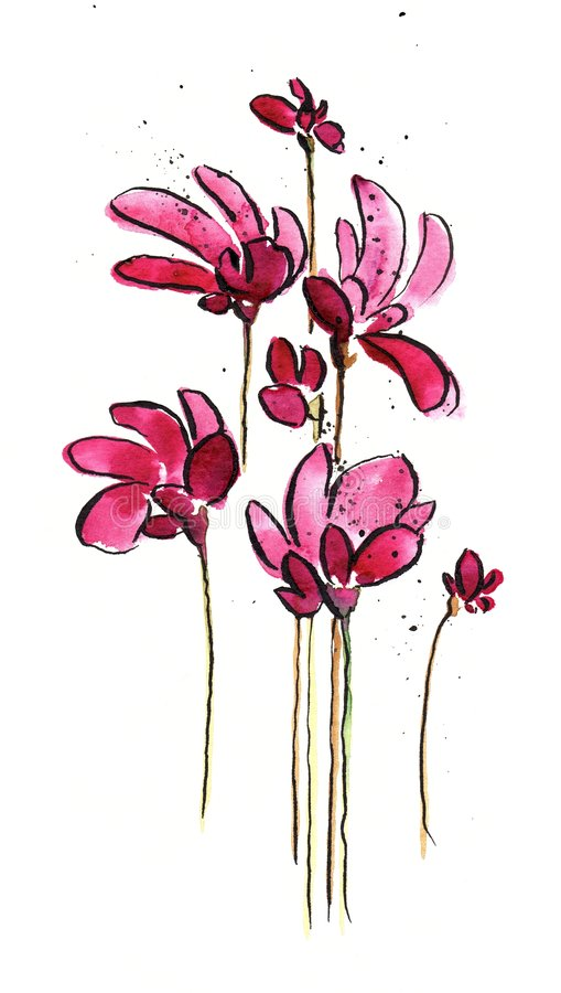 Download Pink flowers stock illustration. Image of backdrop, acrylic - 5950221