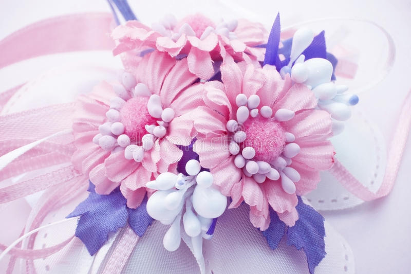 Pink flowers baby girl birth. Blue flowers bouquet for birth or baptism stock photography