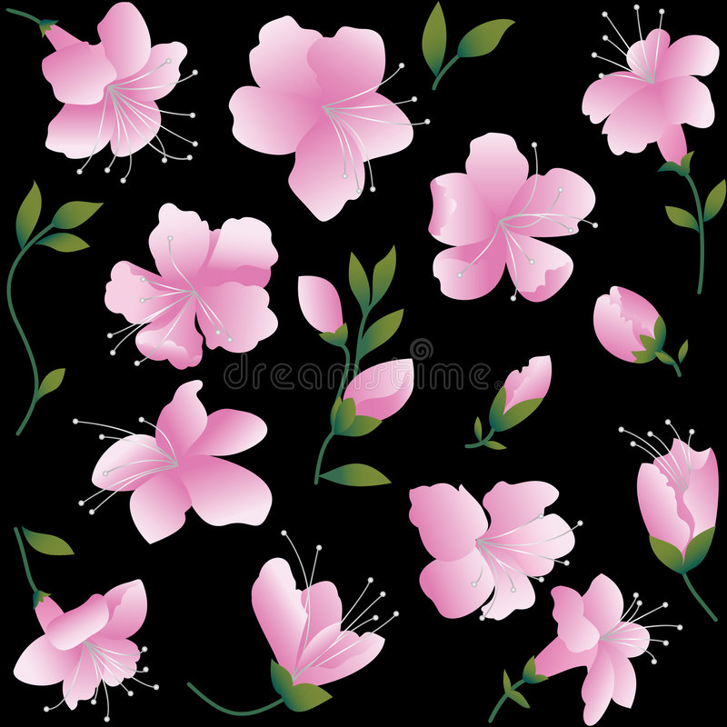 Pink flowers on black background stock vector illustration of download pink flowers on black background stock vector illustration of background gift mightylinksfo