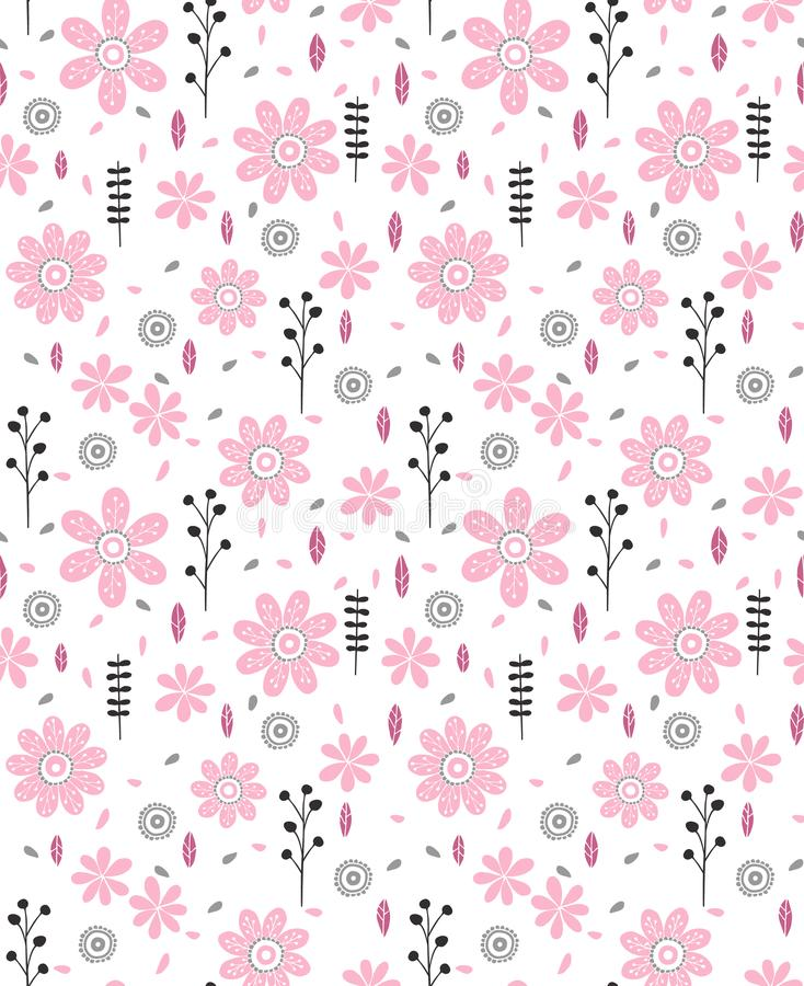 Pattern of Hand Drawn Pink Flowers and Black and Grey Twigs. Delicate Infantile Vector Design. White Background. Pink flowers and black and grey twigs and royalty free illustration