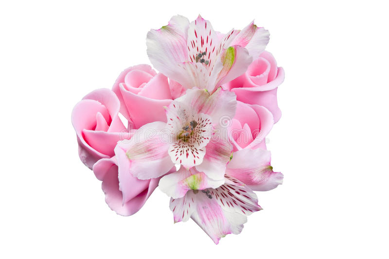 Pink flowers, candied decoration for cake stock photo