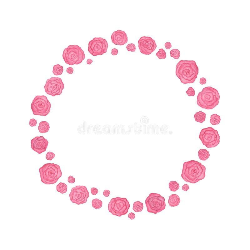 Pink flowers circle frame stock illustration