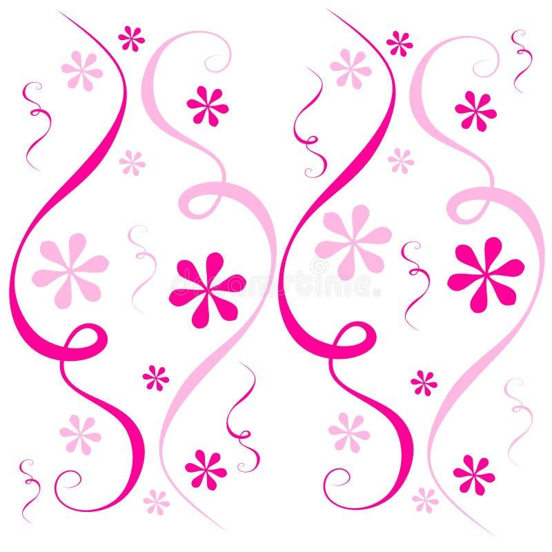 Pink Flowers Confetti Swirl stock illustration