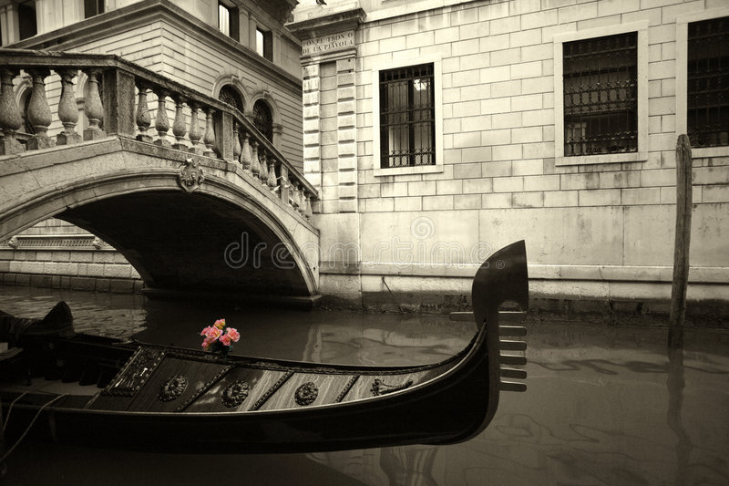 Pink Flowers and gondola stock photos