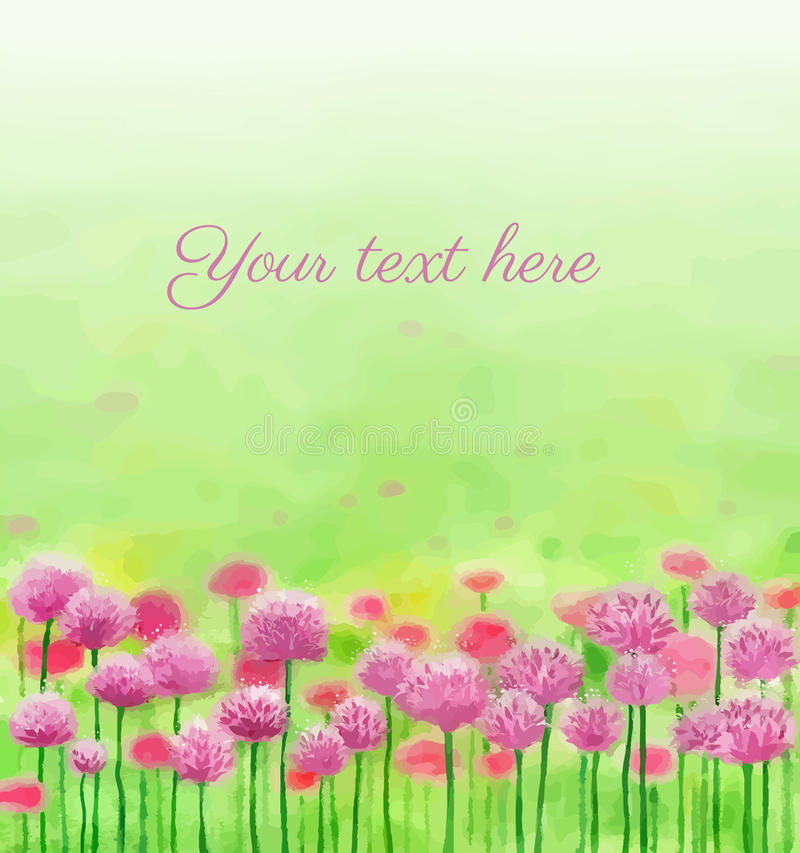 Pink flowers on green field royalty free illustration