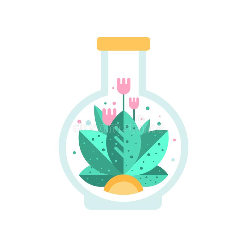 Pink flowers with green leaves inside glass terrarium in shape of flask. Flat vector icon of blooming plant in vector illustration