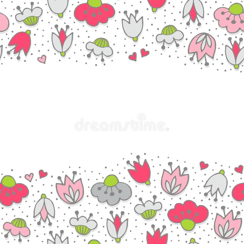 Pink flowers and hearts on dotted white seamless horizontal border download pink flowers and hearts on dotted white seamless horizontal border stock vector illustration of mightylinksfo