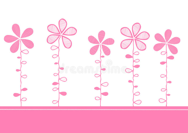 Pink flowers invitation card stock illustration