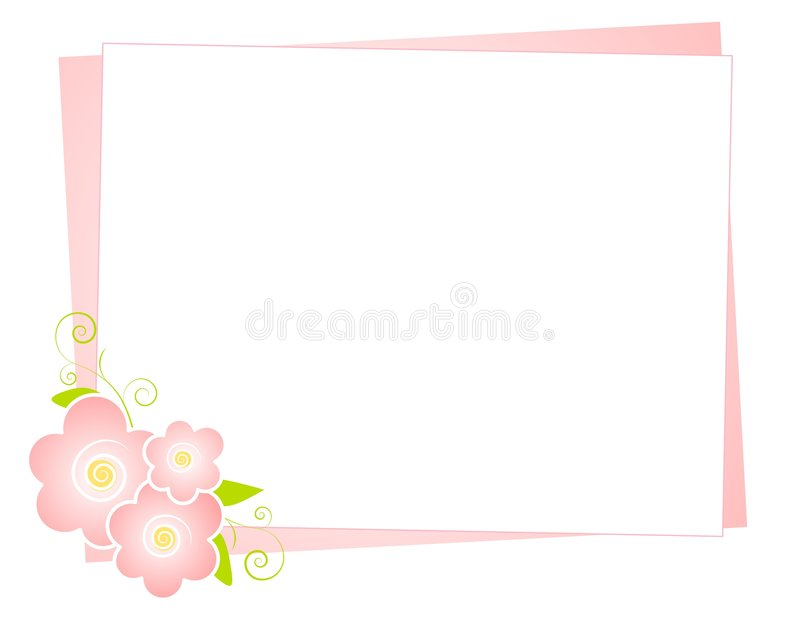 Pink Flowers Note Paper Background stock illustration