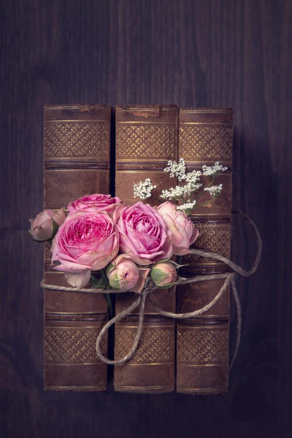 Pink flowers and the old books stock photos