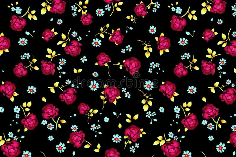 Pink flowers pattern on black background stock image