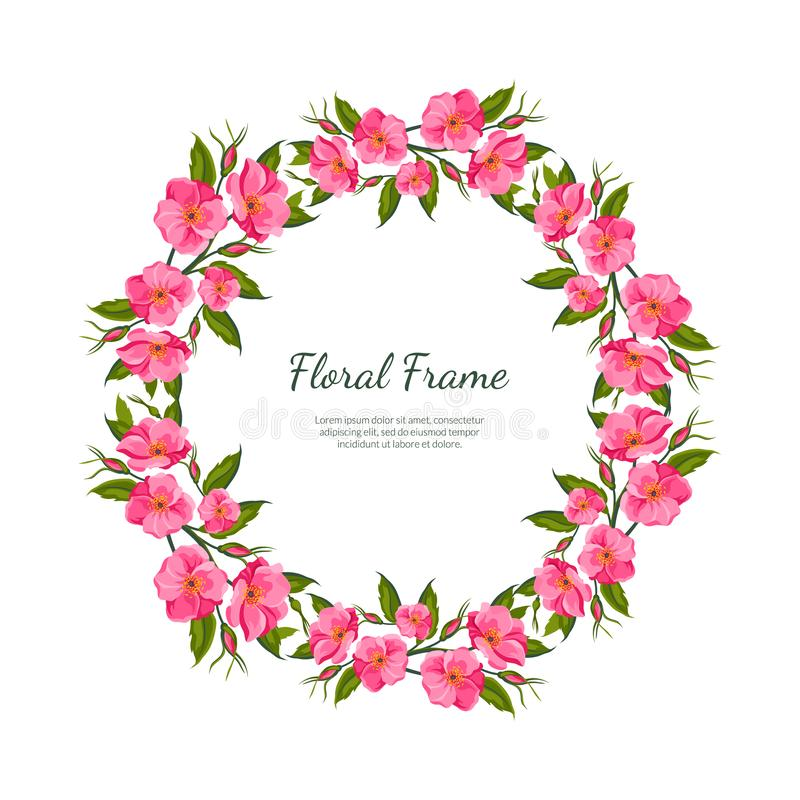 Pink Flowers Round Frame Card Template with Blooming Flowers, Elegant Floral Banner, Poster, Wedding Invitation vector illustration
