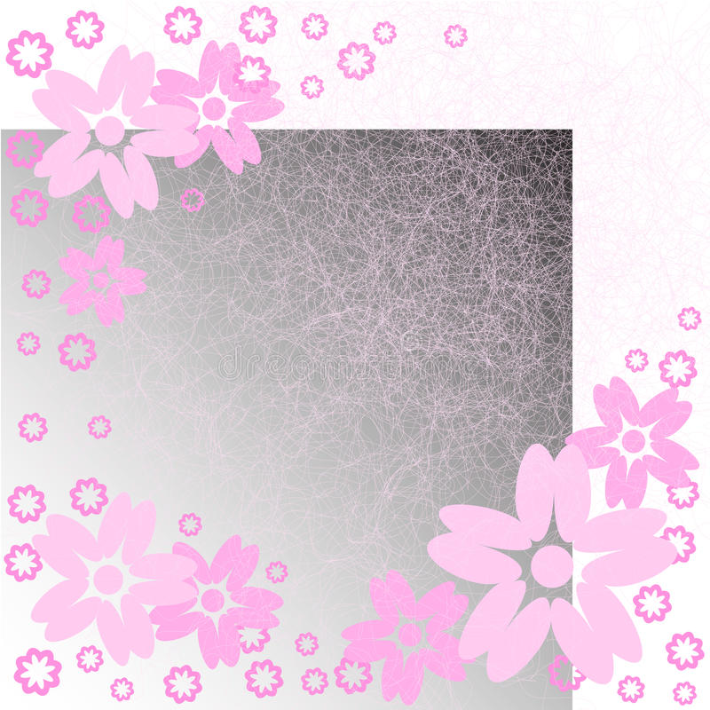 Pink Flowers On Scratches Stock Photos