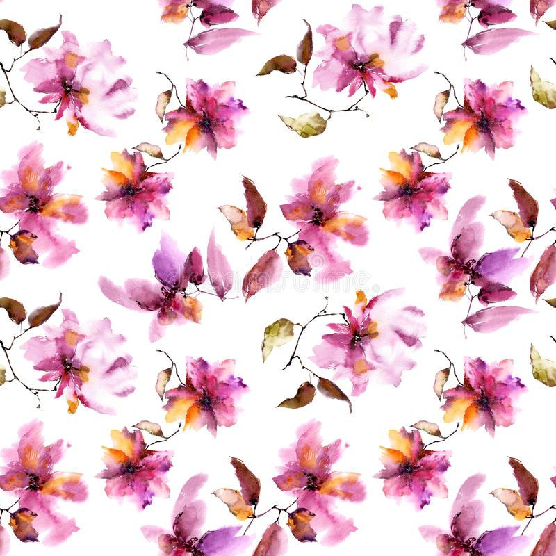 Seamless floral background. Pink transparent flowers pattern. Textile pattern template. stock illustration