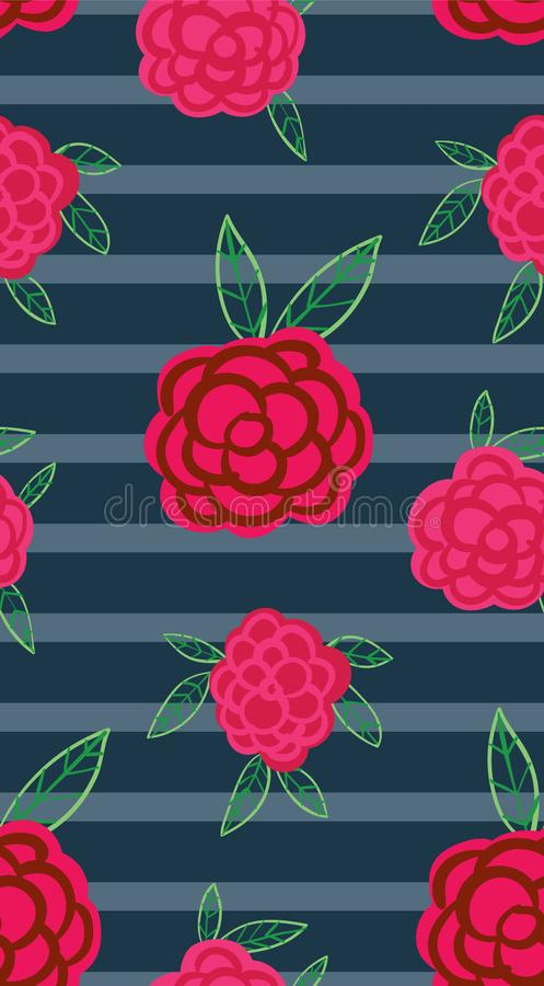 Pink flowers on a striped background stock illustration
