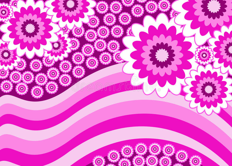 Pink flowers stripey banner royalty free stock photography