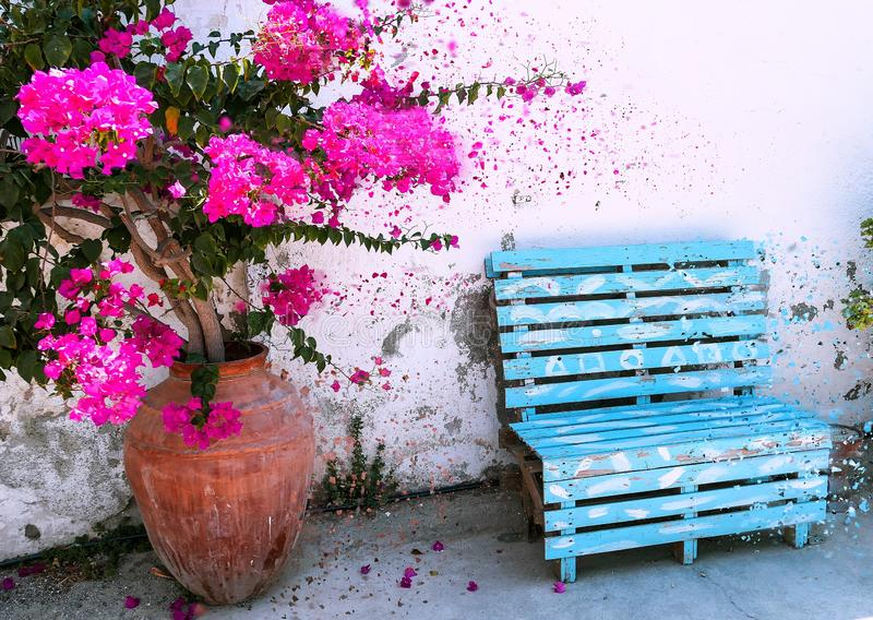Pink flowers of summer Cyprus in ceramic vase near a navy bench royalty free stock photos