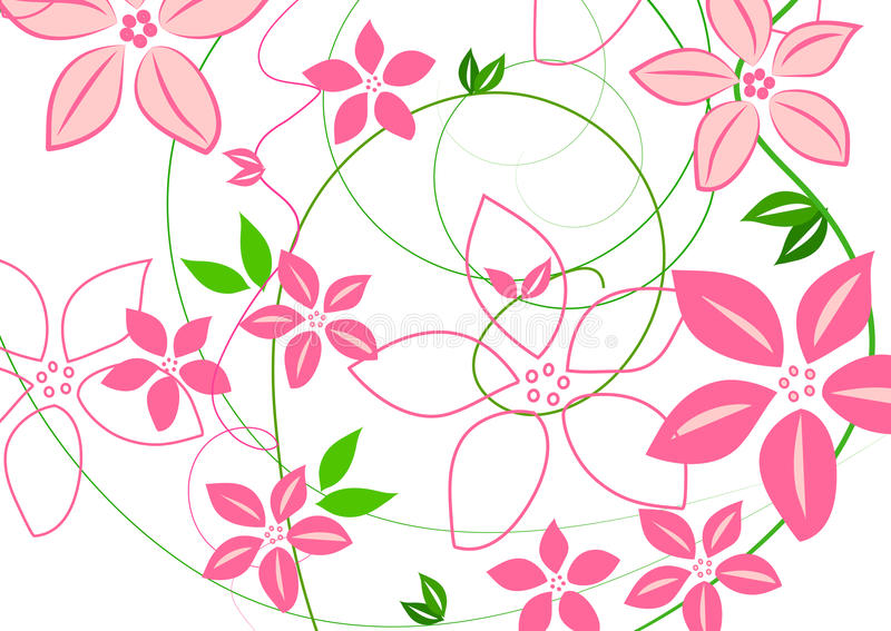 Pink flowers and swirls on white royalty free illustration