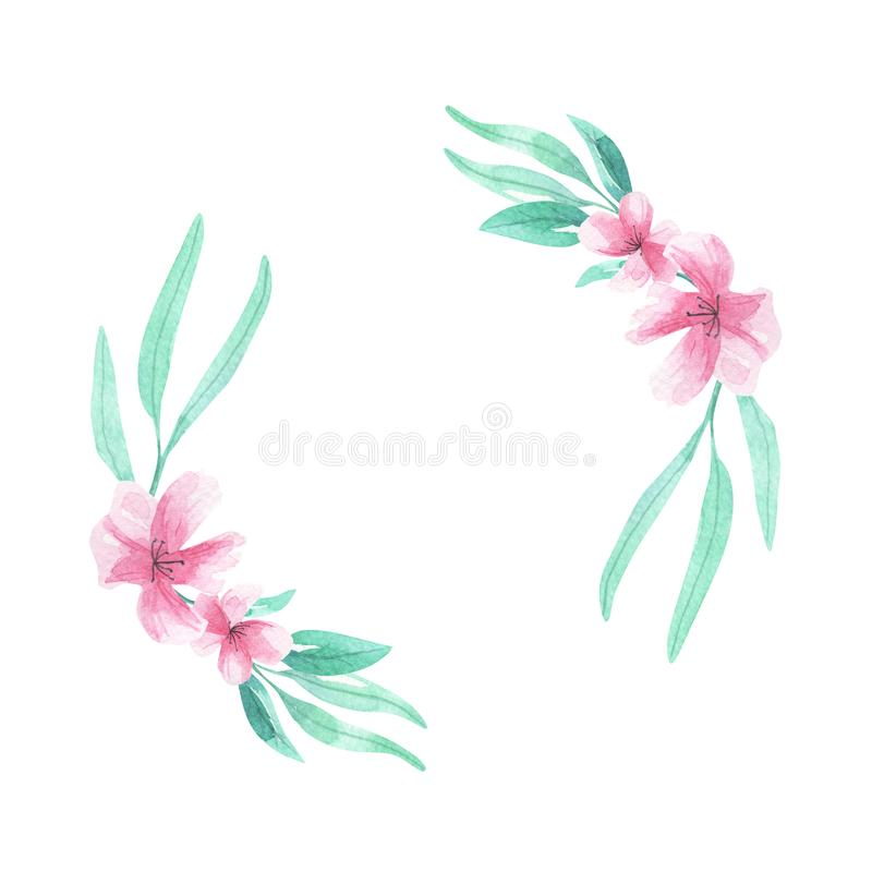 Pink flowers Watercolor Aqua Green Wreath Frame Arch Floral Border Blooms. Watercolor Frame in pink and aqua Flowers, Hand Painted wreath garland. Delicate & stock illustration