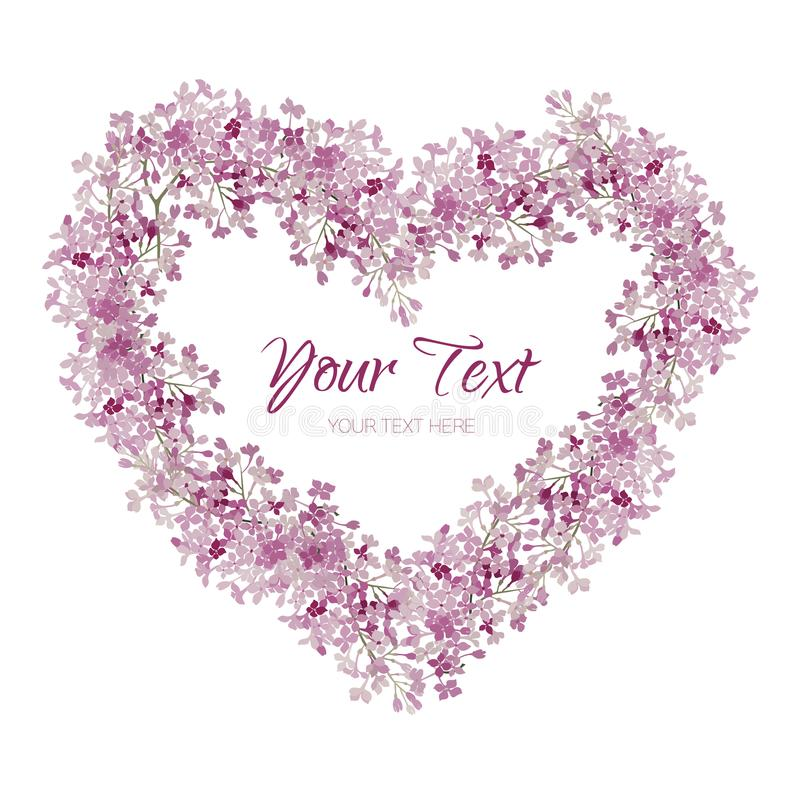 Pink flowers. Wreath in heart shape. Greeting card with watercolor. Flowers on a white background. Frame for valentins day stock illustration