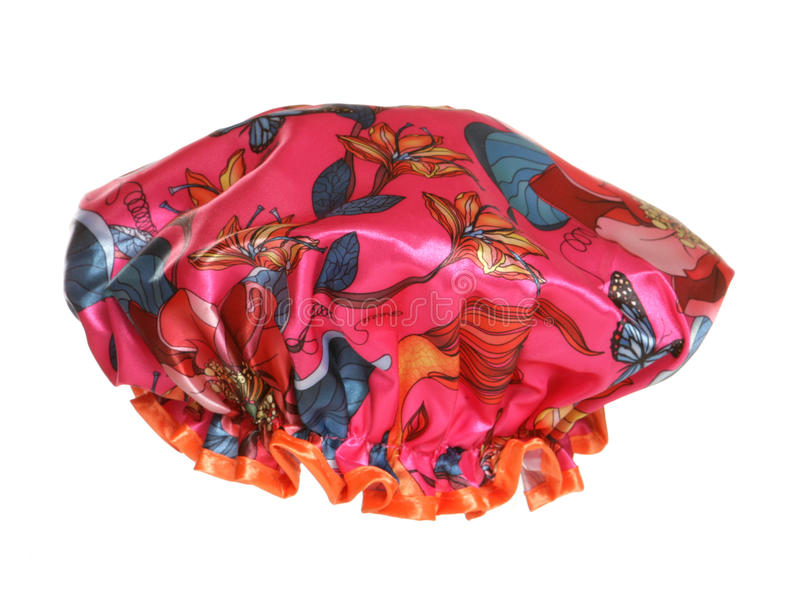 Pink flowery shower cap stock photography