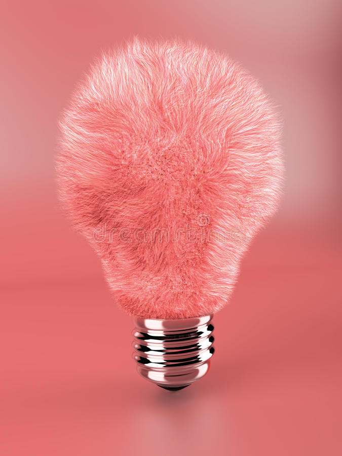 Pink fluffy lamp bulb royalty free stock photography