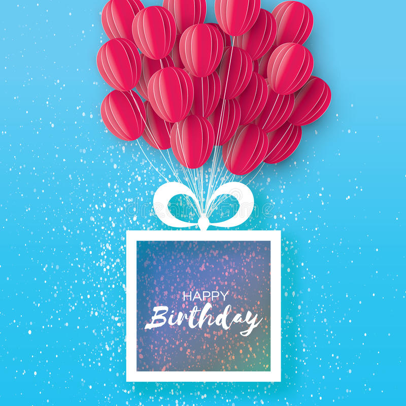 Download Pink Flying Paper Cut Balloons Happy Birthday Greeting Card Origami Gift Box