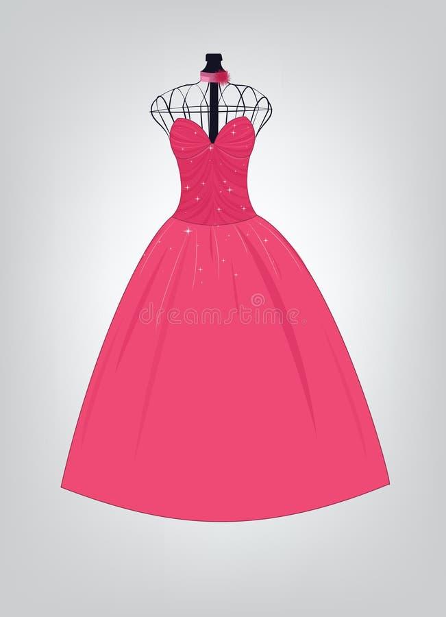 Pink formal dress. Beautiful pink formal dress (vector vector illustration