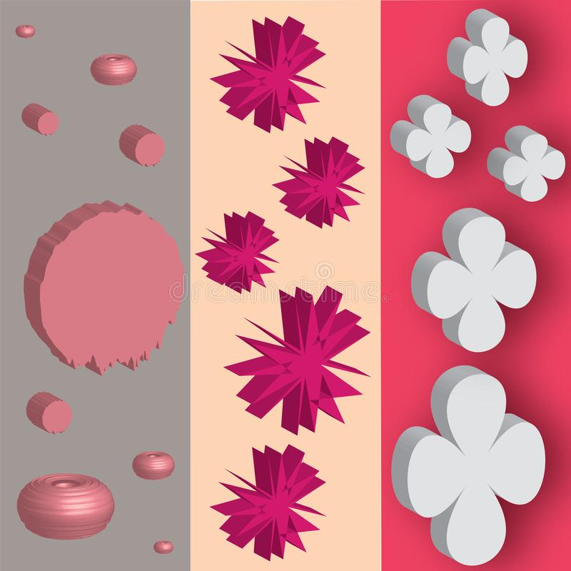 Pink forms with 3d effects stock illustration