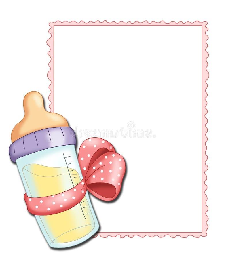 Pink frame with baby bottle. Illustration of a pink frame for children females, with a baby bottle royalty free illustration