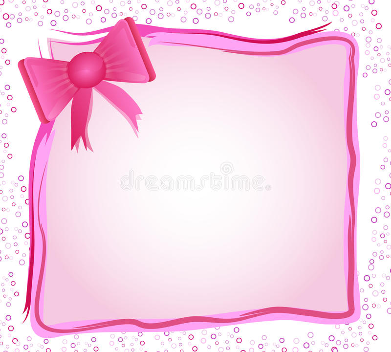 Pink frame with bow vector illustration