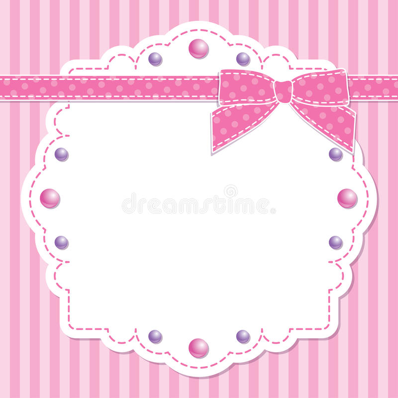 Download Pink frame with bow stock vector. Image of romantic, girl - 25011688